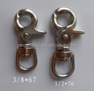 2014 mannufacture swivel round eye bolt snap marine stainless steel 304 swivel bolt snap hook key ring swivel hooks