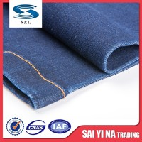 Blue crude twill printed recycled denim fabric