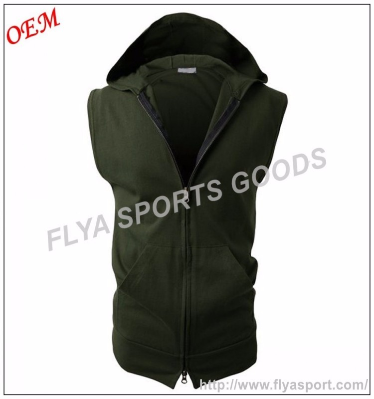 Mens Fashion Lightweight Sleeveless Basic Hoodies Zip-up with Pocket