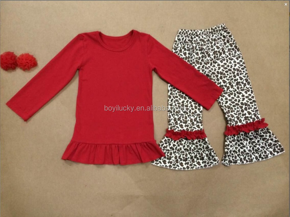 boutique girl Chinese red clothing kids outfits leopard print fashion ruffle pants clothing manufacturers kids garment for fall