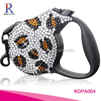 Personalized design high quality crystal decorative metal led dog leash retractable