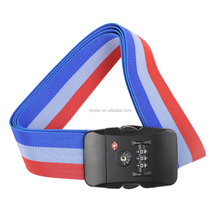 Red Blue White 2m Belt Travel 3 Built In Digital Combination Suitcase Luggage Secure TSA Lock