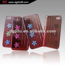 Transparent PC with diamond-studded cellular phone case,make your own decorative cell phone cases for iphone4s