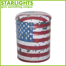 the Stars and the Stripes design genuine leather metal storage ottoman