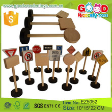 15 Pieces Per Set Wooden Traffic Signs Toy Kids Educational Learning Toy for Promotion