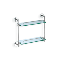 Bathroom toilet hardware supplier wall mounted two layers dual tier glass shelf