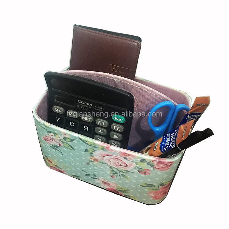 Handmade tv remote control leather desktop pen holder, desk organizer