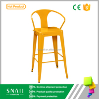Vintage taobao china wholesale cheap industry metal dining arm chairs wood bar stools with back