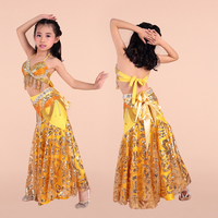 2016 New arrivals sexy belly dance costumes for girls kids belly dance costume set bra belt skirt Indian dance wear for sale
