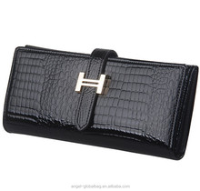 Wholesale fashion H button Patent genuine cowhide leather crocodile wallet women