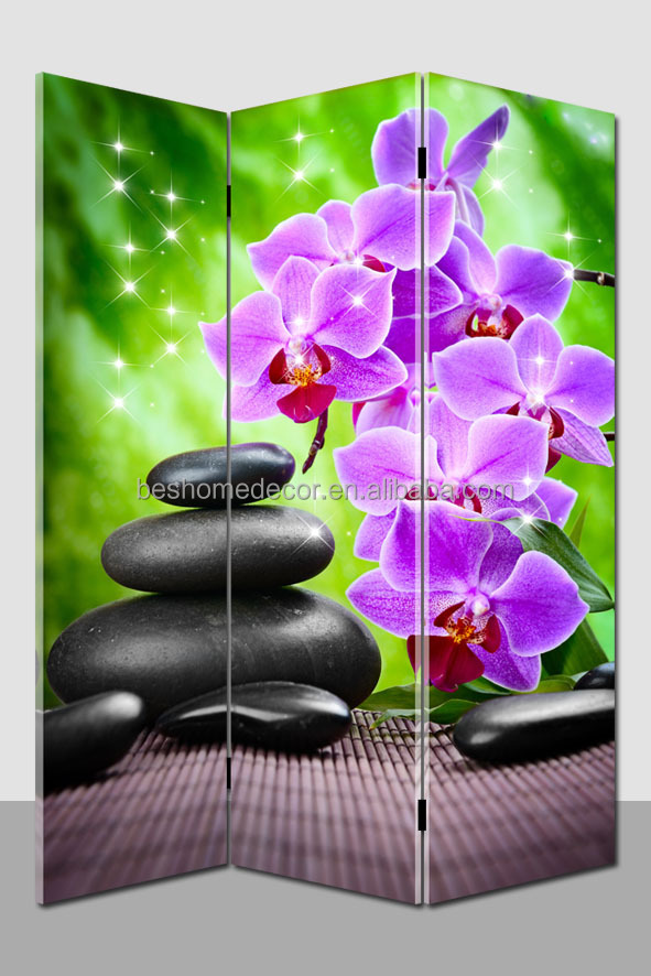 candle flickering painted canvas room divider folding screen