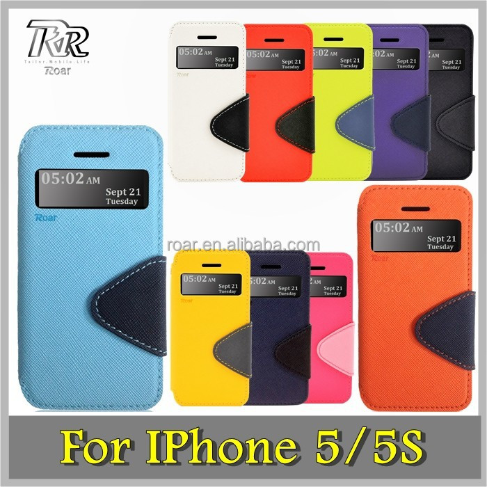 Roar Slim PU Leather Wallet Case, Folio View Stand Card Slot for IPhone 5/5S (10 Dual Colors)