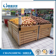 wood fruit and vegetables display shelf table
