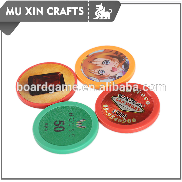 39mm dia customized plastic printing poker chips for board game