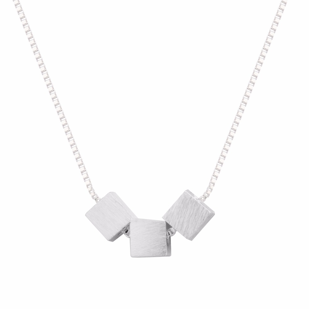 New 925 Sterling Silver Three Box Cube Necklace Pendant Hot Sale Pure Silver Jewelry for Women Simple Wedding Jewelry Neckalce