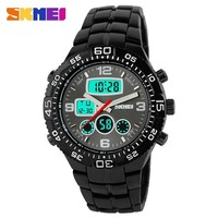 Skmei Fashion Casual Brand Men's Wristwatches Stainless Steel LED Digital Quartz Waterproof Watch Men Sports Watches