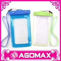 Plastic mobile phone bag with neck hanging waterproof pouch