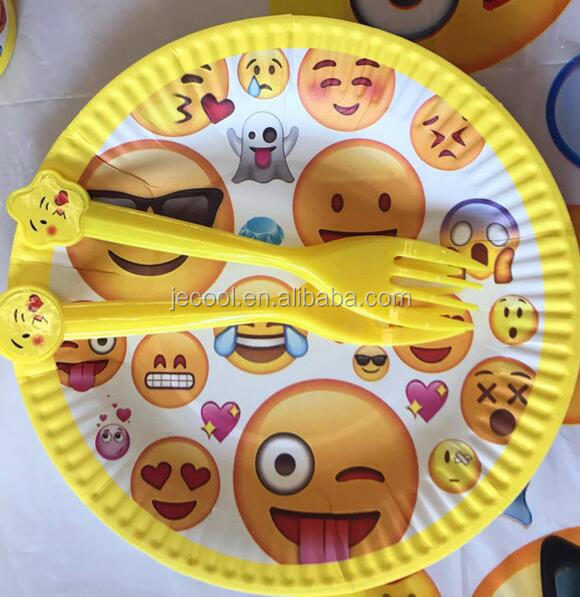 10pcs/lot Emoji tableware theme plastic forks kids birthday party decoration emoji fork and knife