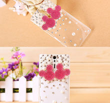 For Sony Mobile Phone Accessories,Hard Plastic Crystal Rhinestone Shell Cover for Sony