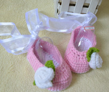 Handmade Knitted Cotton Shoes New Born Baby Casual Shoes Ribbon Bowknot