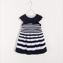 Girls short sleeve mini frock striped casual white and blue 100% cotton bow tie cute softtextile baby dress new style