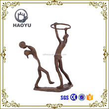Metal art and <strong>crafts</strong> bronze father and kid playing basketball statues