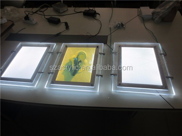 LED light acrylic wall mount advertising photo picture frame whole sale