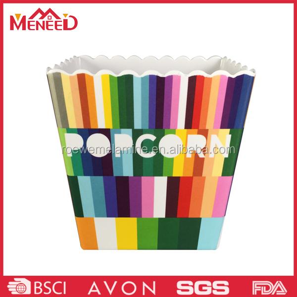 Custom print hard plastic melamine popcorn bowl wholesale