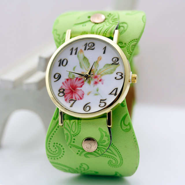 sloggi New Arrival Printed leather Bracelet Wristwatch Wide band Dress Watch with flowers Fashion Women Casual Watch girl's gift