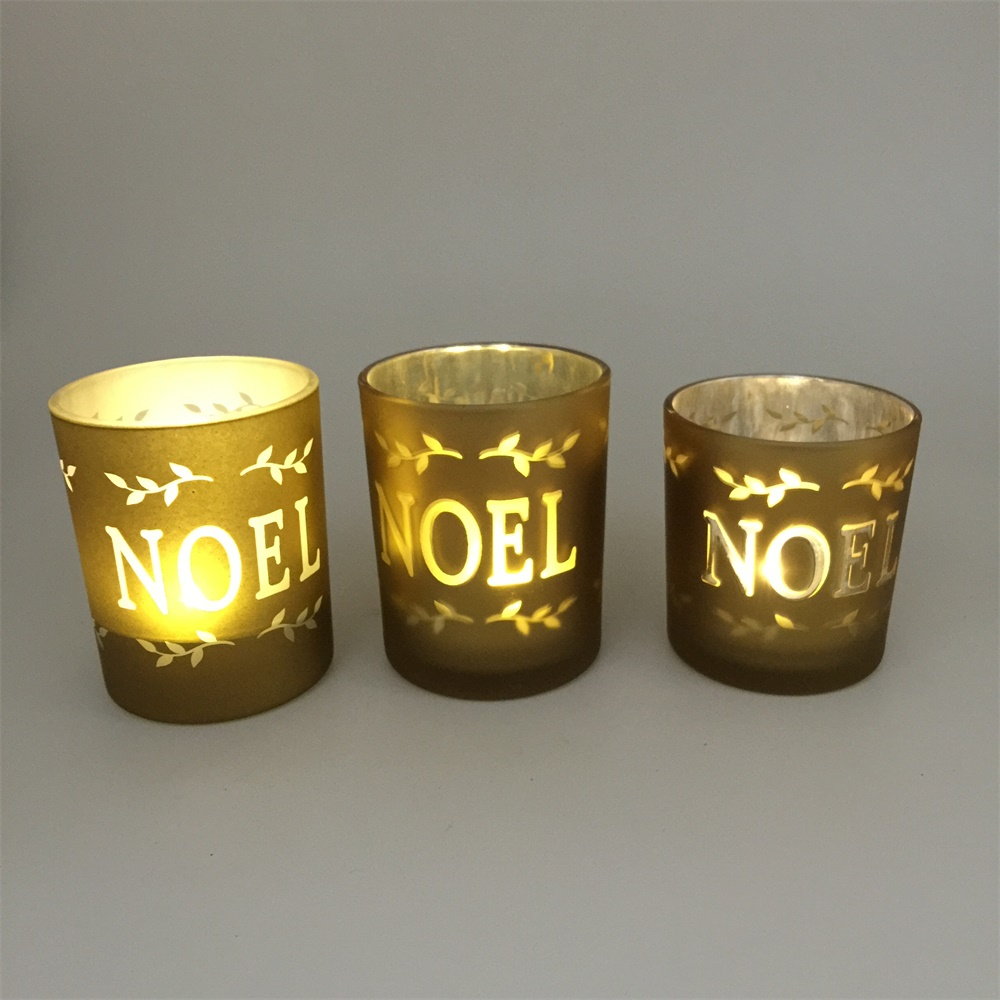 Mercury circle of friends candle holders Cylinder silk screen Glass Candle Holders