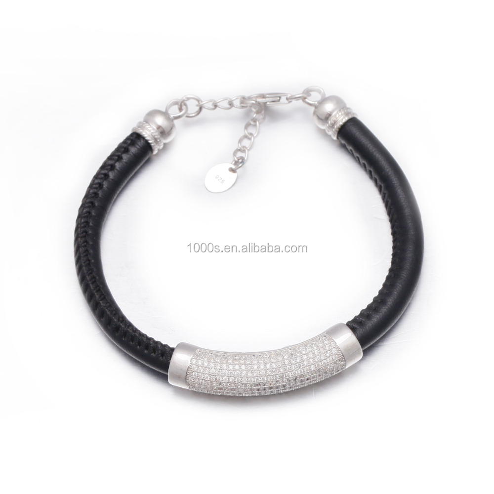 Free Sample Dropshipping 925 silver pave cz stone leather bracelet