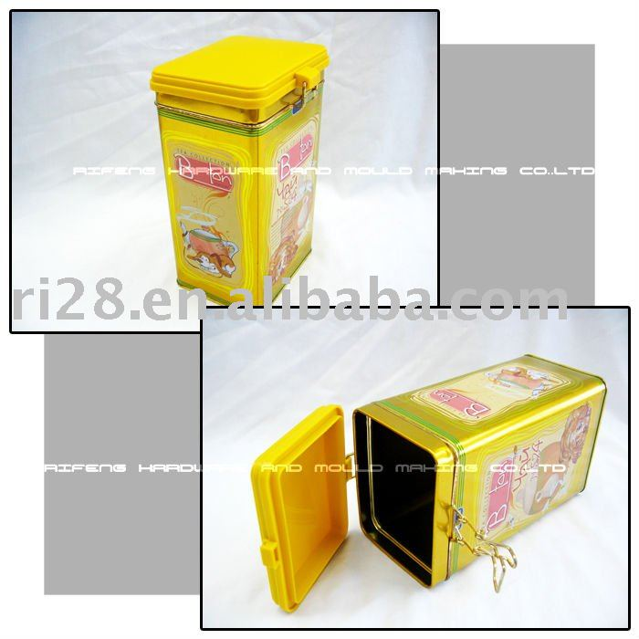 airtight tea tin box with metal string and plastic cover
