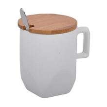 New product white plain ceramic mug with wooden lid and spoon / ceramic coffee mug with cover