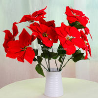 high quality Christmas poinsettia artificial flower new style handmade fabric poinsettia red poinsettia flowers pots