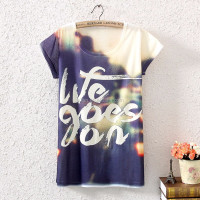 Wholesale cheap unisex print loose women tshirt
