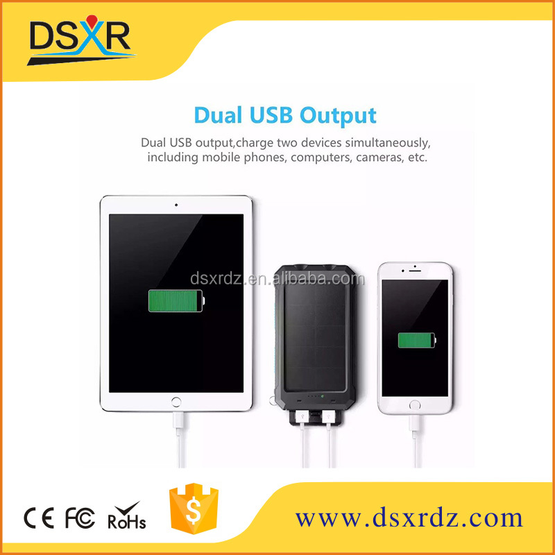Dual USB 12000mah solar power bank ,Elegancy Portable Solar Power Charge with camping light