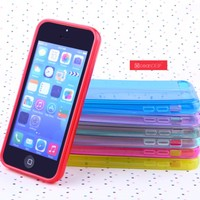 Simple design clear TPU glossy skin soft gel case for iphone 5c mobile phone