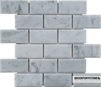 25x48 Italy bianco carrara brick look living room marble mosaic tile