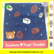 Square cartoon yarn dyed bear cotton hand towel in Japan wholesale
