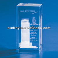 crystal glass block 3d laser engraved customized