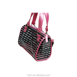 Top Selling Famous High Quality Pink Flower Decoration PVC Lady Cheap Handbag