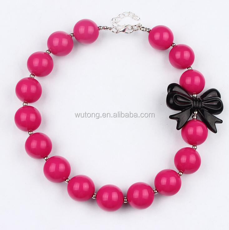 Cute Baby Girl 2017 Charm Design Black Bowknot Necklace Hot Pink Beads Chunky Bubblegum Necklace