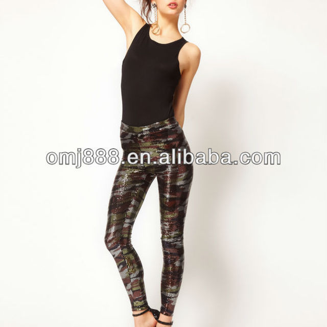 Fashion trends camouflage printed sequins personality backing pants
