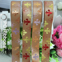 Single face satin with colorful flower foil print ribbon