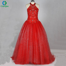 High Quality Hather Sleeveless Beading sequined backless lace Up A line Evening Dress