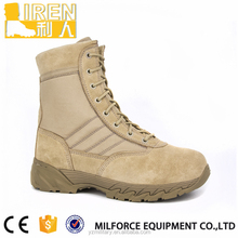 Liren-High quality suede cowhide leather tan military army desert combat boots
