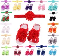 New!!17 colors!!Girls Cute Foot Flower Barefoot Sandals+Headband Baby Set Elastic Hairbands Infant Kids Headbands