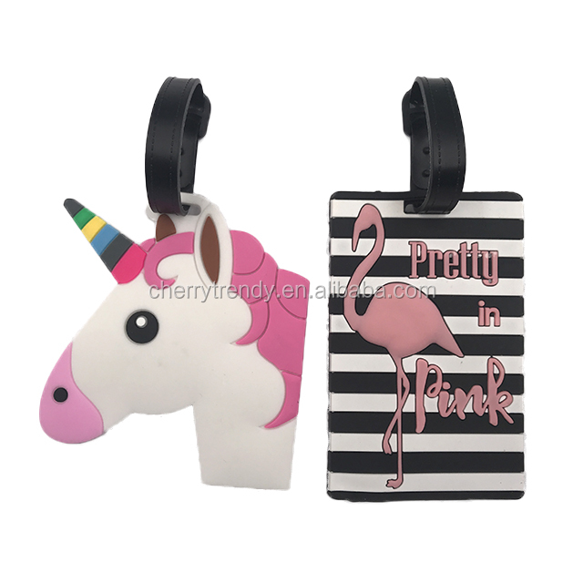 Name and Address Label ID Tag Travel Cute Flamingo Luggage Tags