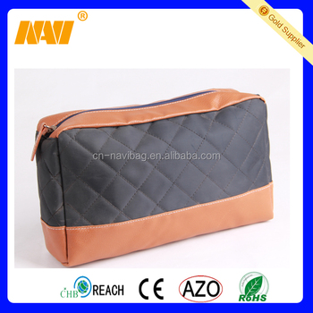 high quality factory produce promotional quilted PU men travel cosmetic bag