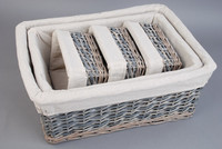 wicker storage basket with fabric willow basket for home deco